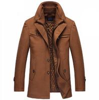 Wholesale single button pea coat - Wholesale- Brand New Winter Wool Coat Slim Fit Jackets Fashion Outerwear Warm Man Casual Jacket Overcoat Pea Coat Plus Size M-XXXXL