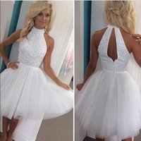 2017 heißer SB8520 Weiß Homecoming Kleid Kristall Perlen Halfter Sleeveless Backless Über Knie Kurze Party Kleid