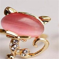 Wholesale Opal Cat Ring - Min.order is $15 (mix order)-Opal Cute Little Cat Lady Finger Ring Opening-sideng
