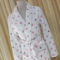 Wholesale Ladies Warm Underwear - Pillow Pajamas Autumn and Winter Ladies Robe Bamboo Fiber Warm Long Sleeve Bathrobe White Dots Apply Ladies Underwear