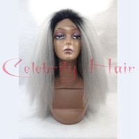Wholesale Blonde Grey Wig - Ombre black grey kinky straight hair lace front wig for fashion african americans ,short dark roots rest gray combs &straps