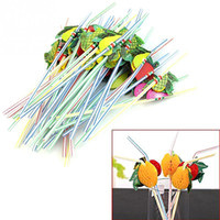 Wholesale Funny Drinking - Wholesale- 100Pcs 3D Funny Fruit Umbrella Straw Bar Decoration Party Celebration Colorful Cocktail Drink Straw Random Color