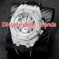 Wholesale Ice Chronograph Watch - Full iced out quartz chronograph full works watch mens brand luxury wristwatch black leather band stainless steel OS chronograph watch