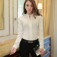 Wholesale Cheap Ladies Work Clothes - Chiffon blouse white shirt women long sleeve slim plus size cheap clothes china blusas Office ladies work wear