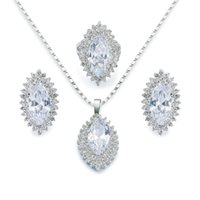 Wholesale Wholesale Gemstones Jewelry China - Necklace Earrings Jewelry Sets Sterling Silver Yellow Gold Natural Gemstone White Topaz Cubic Zirconia Ring Size 8 BTZ1000001