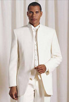 men ivory vest 도매-스탠드 칼라 아이보리 신랑 턱시도 신랑 맨 남자 웨딩 슈트 베스트 남자 슈트 댄스 파티 드레스 (자켓 + 바지 + 조끼)