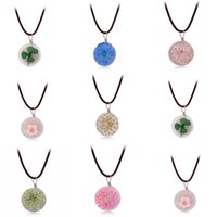 Wholesale Long Best Friend Necklaces - 9 Style Glass Ball Bottle Dandelion Clover Real Flower Pendant Necklace Lucky Wish Long Leather Chain Best Friend Gifts
