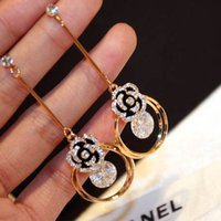Wholesale Earrings Rose Plated - hot selling fashion earring jewelry titanium steel 18k rose gold zircon diamond glittering tassel exquisite Camellia earrings jewelry