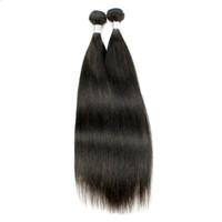 ingrosso pezzi di capelli per tessuti-2 pezzi tessuto brasiliano capelli lisci marrone naturale peruviano malese mongolo grezza vergine indiana capelli umani