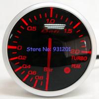 Wholesale Smoke Gauges - Wholesale-Free Shipping: 60mm Defi BF Meter White Red Back Light Stepper Motor Smoke Lens Turbo Boost Pressure Meter Gauge