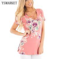 Wholesale Summer Women Tshirts - 2017 Pink Floral Printed Women T-Shirt Short Sleeve Summer Casual Slim TShirts Girls Lace Up Crisscross V Neck T Shirt e250029