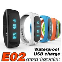 E02 intelligente Armband wasserdichte lange Standby-Sport Smart Watch Timing Überwachung Wristband SmartBand IOS7.1 USB-Ladung DZ09 A1 Z60 smartwatch