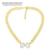 Wholesale Thick Gold Chain Rhinestone - Fashion Choker Thick Chain Necklaces Pendants for Women Gold Plated Jewelry Wholesale Crystal Jewellery New Neoglory