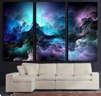 Wholesale Psychedelic Art - HD Printed 3 piece canvas art abstract psychedelic nebula space Painting decor panel paintings Free shipping