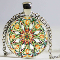 Wholesale Glass Tulip Flowers - Tulip Mandala Flower Silver Color Pendant Necklace Vintage Teen Picture Glass Cabochon Statement Chain Necklace Summer Style Jewelry