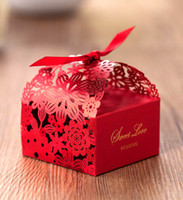 Wholesale Red Paper Gift Bags - Wedding Favors Gift Boxes Candy Box Party Favors Hollow Wedding Candy Box Favor Chocolate Boxes candy bags cake boxes