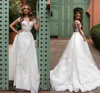 Wholesale Noble Short Sleeves Wedding Gown - Noble White A-Line Wedding Gowns Jewel Sheer Neck With Lace Applique Wedding Dresses Sheer Back Tiered With Sash Sweep Train New Bridal Gown