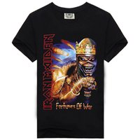 Wholesale Iron Maiden Free Shipping - Rock Music Iron Maiden Skull New Style Fashion T-shirt Men's T Shirt Cotton High Print Hip Hop Tees Overseas Free Shipping