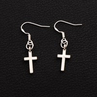 Wholesale 925 Silver Ladies - 925 Silver Fish Hook Small Cylindrical Cross Celebrity Earrings 50pairs lot Lady Charm Rare Jewelry E429