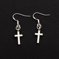 Wholesale Wholesale Small Silver Crosses - 925 Silver Fish Hook Small Cylindrical Cross Celebrity Earrings 50pairs lot Lady Charm Rare Jewelry E429