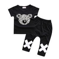 ingrosso boys mickey sets-Top T-Shirt Bear Top di Mickey Head Set di vestiti per bambini 100% cotone Top Quality Fashion Baby Boys Tute sportive Tuta 2 pezzi