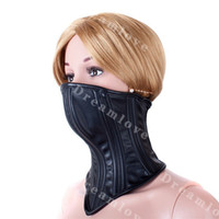 Wholesale Collared Slaves - Female Soft Boned Leather Bondage Neck Corset Collar Womens Fetish Lockable Half Face Mask Slave Role Play Costume
