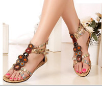 Wholesale Burgundy Sandals For Women - Summer Style Ethnic Women Sandals 2017 Bohemian Fashion Beading Pu Printed Casual Flats For Woman Free