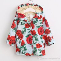 Wholesale Girls Spring Baby Jacket Children - Kids Girls Coat 2017 Winter Baby Girls Floral Print Hooded Coat Princess Outwear Infant Girls Full Sleeve Jacket Children Clothing S950