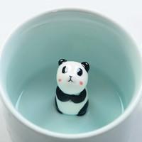 Wholesale Wholesale Pottery Tea Cups - Creative Small Ceramic Mug Small Animals In The Cups 3D Cartoon Belt Handle Milk Coffee Tea Cup 7xd J