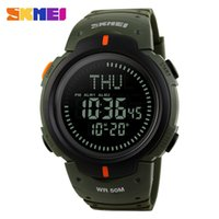 Wholesale Digital Watches Water Proof - SKMEI Brand Watches 5ATM Water Proof Digital Outdoor Sports Watch Men's Watch EL Backlight Compass Countdown Wristwatches