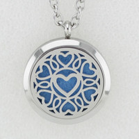 Wholesale Love Magnetic Necklace - 5PCS 30MM Silver Magnetic Love Essential Oil Diffuser Perfume Locket Necklace Pendant Stainless Steel Necklace Pendant With Pads Chain