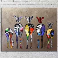 One Panel art canvas for painting - Oil Painting Abstract Canvas Art Hand Painted Zebra Abstract Unframed Wall Art Paintings Cartoon Picture For Home Decoration Cm