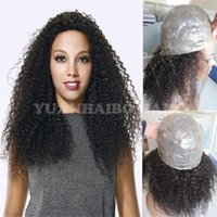 Wholesale Color Hair For Brown Skin - High quality 1b virgin peruvian hair kinky curly full thin skin wig for black women free shipping