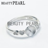 Bulk of 3 Pieces Configurações do anel 925 Sterling Silver Finding DIY Jewelry Making Heart Ring Blank