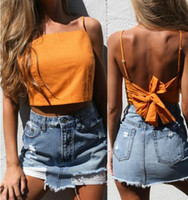 Wholesale Cami Panel - 2017 new women Summer crop tops fashion lace up camisole tank top tees backless sleeveless beach bow cami ladies short Halter tops