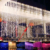 Wholesale Outdoor Waterfall Led Light - Wholesale-6m x 3m Led Waterfall Outdoor Fairy String light Christmas Wedding Party Holiday Garden 600 LED Curtain Lights Decoration EU US