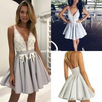 Wholesale Cocktail Dresses For Graduation - Gorgeous Silver Arabic Homecoming Dresses with White Lace A-Line Deep V-Neck Short Graduation Gowns Sexy Chic Cocktail Dress for Party Wear
