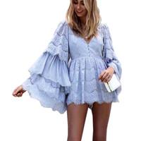 elegante mono azul al por mayor-Ropa de fiesta sexy fashion Women Jumpsuits 2019 cocktail blue lace mamelucos elegante con cuello en v manga de pétalo vestidos marca azul manga larga