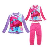 baby schöne pyjamas groihandel-Die netten Baby-Pyjamas stellten reizende Anime-Trolle ein, die Karikatur Sleepwear für 4-10yrs Mädchenkindkindernachtabnutzungskleidung stellte heiß ein