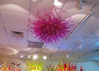 flores colgantes led al por mayor-Modern Designer Pink Chandelier Lights Envío gratis Flower Glass Hanging Chain decorativo 110v-240v LED Rescource Ceiing