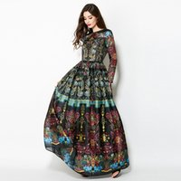 Wholesale Maxi Black Floral - 2017 New runway women dress Retro Europe vintage flower printing party dress maxi long dress