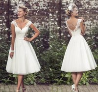 Wholesale Knee Length Sexy Trumpet Wedding - Summer 2017 Short Wedding Dresses A-Line Knee Length Tulle V Neck Cap Sleeve Pearls 1950's Vintage Garden Beach Wedding Lace Bridal Gowns