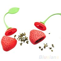 Wholesale Tea Infuser Red Silicone - Strawberry Design Silicone Tea Infuser Strainer - Red and Green   Suitable for Use in Teapot, Teacup and More--A Wonderful Gift for An Avid