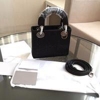 Wholesale Elegant Womens Handbags - Elegant Mini Womens Totes Genuine Leather Black Ladies Handbags Luxury Design Socialite Shining Totes with Rhinestone 1113
