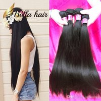 Wholesale raw unprocessed peruvian virgin hair resale online - Bella Hair A Double Drown Brazilian Virgin Hair Bundles Peruvian Straight Hair Weave Unprocessed Raw Indian Human Hair Extensions