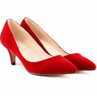 seksi düşük ayakkabılar toptan satış-Artı Boyutu 6 cm Düşük Topuklu Kadın Pompalar Noktası Ayak Kadınlar Için Rahat Ofis Ayakkabı Süet Seksi Düğün Ayakkabı Gelin