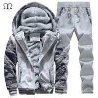 Wholesale Top Brand Men Suit - Wholesale-Men Jogger Set Brands 2016 New Arrived xxxxl Hoodies Men Sweat Suits Fleece Hooded Tracksuit Tops and Pants Plus Size M-4XL #D62