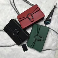Wholesale Trendy Shoulder Bags - Worth having g400249 genuine leather chain folded shoulder bag g 28*19*7cm black green red Rhinestone luxury fashion trendy brand