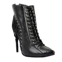 Zandina Womens Fashion Élégant à la main Lace-up Deco pointu Toe High Heel Party Bottines Chaussures Noir XD122