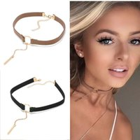 Wholesale leather collar punk choker - 90'S Punk New Fashion 4 Colors Leather Choker Necklace Gold Plated Geometry With Round Pendant Collar Necklace For Women Girls